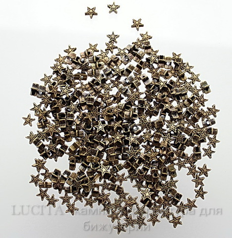 "Бусина металлическая ""Звезда"" (цвет - бронза) 6х6 мм, 10 штук"