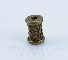 Бусина металлическая - трубочка с узором 7х5 мм (цвет - античная бронза), 10 штук