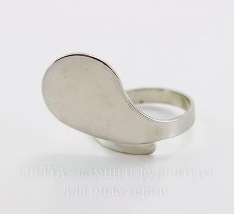 Основа для кольца с площадкой 20х15 мм (цвет - платина)
