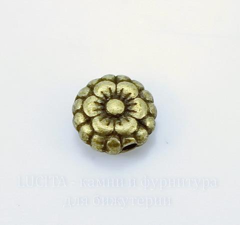 """Бусина металлическая """"Цветочек"""" (цвет - античная бронза) 7х3 мм, 10 штук"""