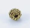 Бусина металлическая шипастая (цвет - античное золото) 7х6 мм, 10 штук