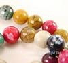 Бусина Агат цветочный (тониров), шарик с огранкой, цвет - микс, 14 мм, нить