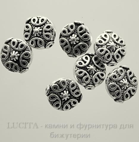 """Бусина металлическая """"Узоры"""" 12х11 мм (цвет - античное серебро)"""
