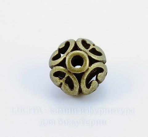 "Бусина металлическая ""Ажурная"" (цвет - античная бронза) 12х10 мм"