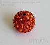 Бусина для шамбалы с фианитами, цвет - оранжевый, 10 мм ()