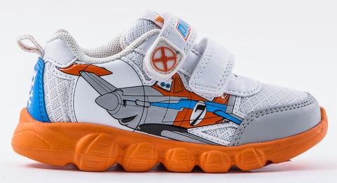 Кроссовки Самолеты (Planes) на липучках для мальчиков, цвет белый оранжевый. Изображение 2 из 8.