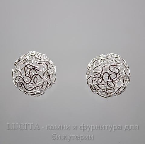 Бусина металлическая из проволоки (цвет - серебро) 18 мм, шт