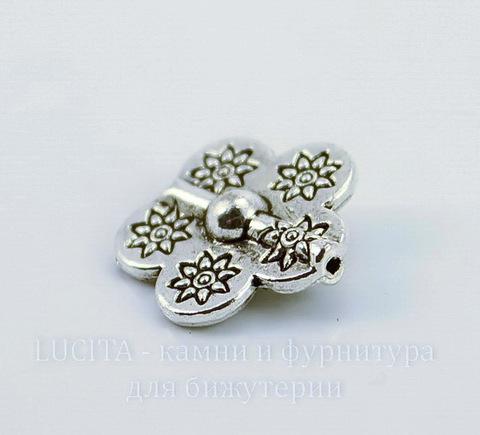 "Бусина металлическая ""Цветок"" (цвет - античное серебро) 15х15х5 мм"
