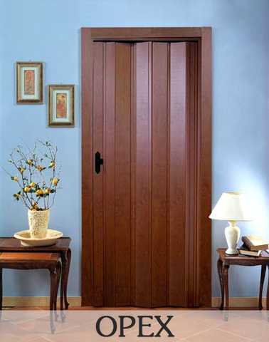 Дверь гармошка с шарниром ПВХ, без витражей. Орех.
