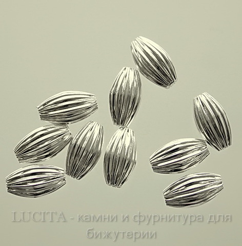 Бусина металлическая гофрированная (цвет - серебро) 10х6 мм, 10 штук