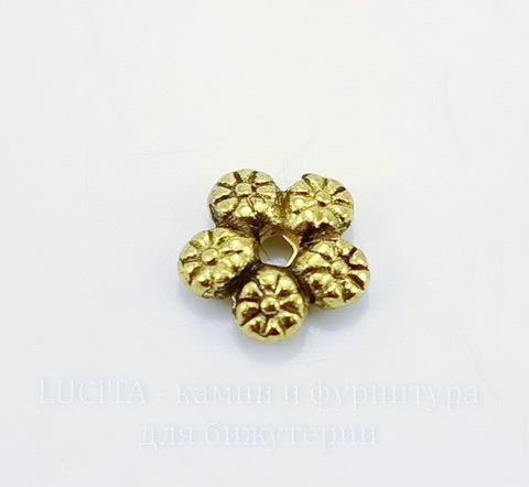 """Бусина металлическая """"Цветы"""" (цвет - античное золото) 7 мм, 10 штук"""
