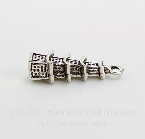 """Подвеска """"Китайская башня"""" 3D (цвет - античное серебро) 25х8 мм"""