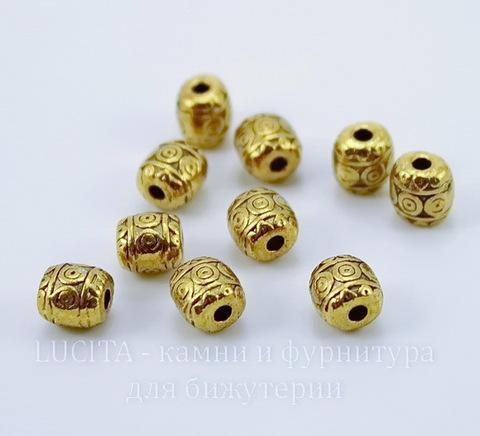 """Бусина металлическая """"Кружочки"""" (цвет - античное золото) 6 мм , 10 штук"""