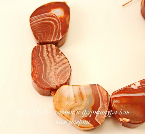 """Бусина Агат """"Крэкл"""" (тониров), цвет- коричневый, нить"""