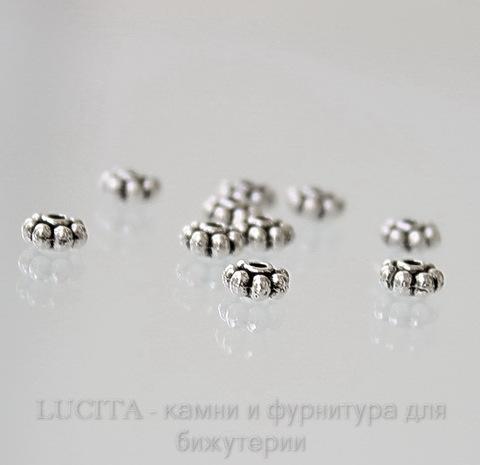 Бусина металлическая (цвет - античное серебро) 5 мм, 10 штук ()