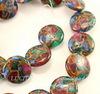 Бусина Яшма Императорская (искусств, тониров), круглая плоская, цвет - микс, 18х6 мм, нить ()