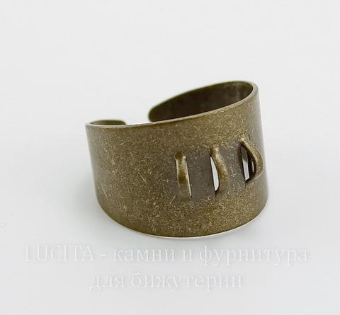 Основа для кольца с 3 петельками (цвет - античная бронза)