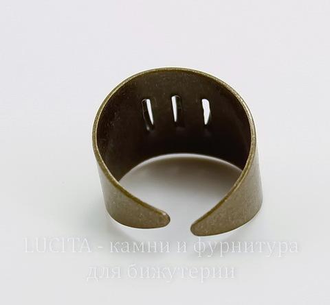 Основа для кольца с петельками (3 петельки) (цвет - античная бронза)