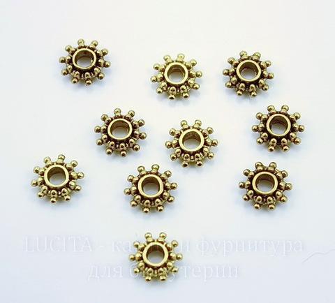 Бусина металлическая - спейсер (цвет - античное золото) 9х3 мм, 10 штук
