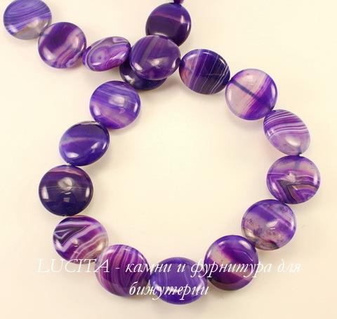 Бусина Агат (тониров), круглая плоская, цвет- фиолетовый с белыми полосками, 20х8 мм, нить
