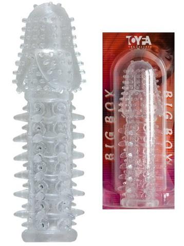 Прозрачная насадка удлинитель на член с шишечками и шипами