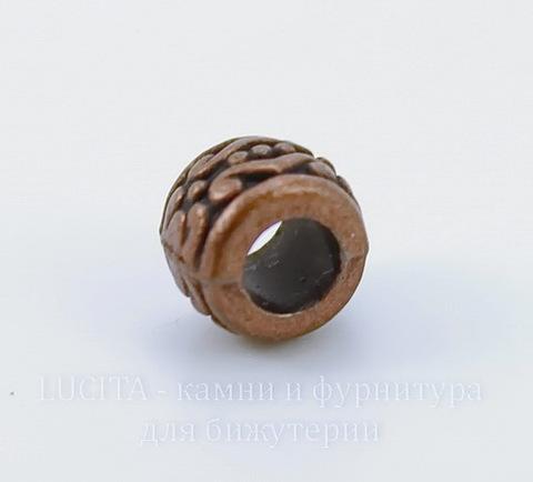 Бусина металлическая - рондель (цвет - античная медь) 7х5 мм, 10 штук