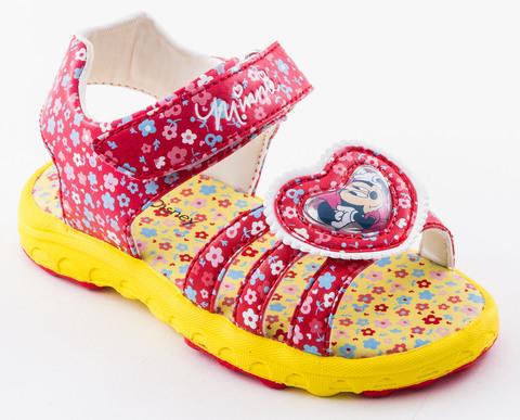 Босоножки Минни Маус (Minnie Mouse) на липучке открытые для девочек, цвет красный желтый. Изображение 1 из 8.