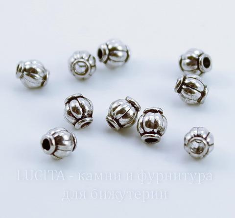 """Бусина металлическая """"Фонарик"""" (цвет - античное серебро) 4х4 мм, 10 штук"""