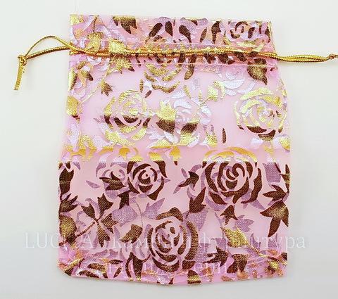 """Подарочный мешочек из органзы """"Золотые розы"""", цвет - розовый, 12х10 см"""