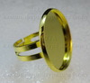 Основа для кольца с сеттингом для кабошона 22,5-23 мм (цвет - золото) ()