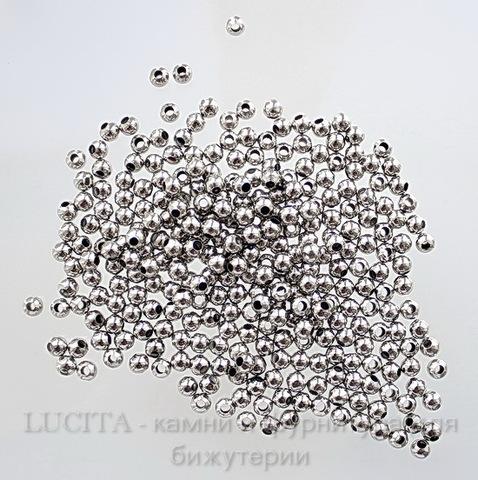 Бусина металлическая круглая (цвет - античное серебро) 6 мм, 10 штук