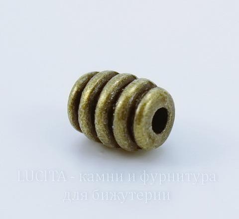 "Бусина металлическая ""Полосатая"" (цвет - античная бронза) 7х5 мм, 10 штук ()"