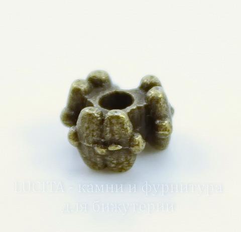 """Бусина металлическая """"Три цветка"""" (цвет - античная бронза) 7х4 мм, 10 штук"""