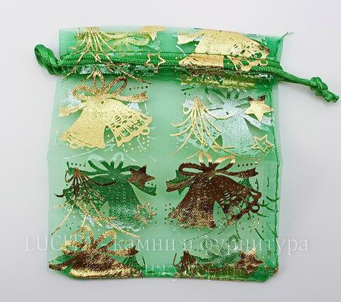 """Подарочный мешочек из органзы """"Колокольчики"""" зеленый с золотым, 12х10 см ()"""