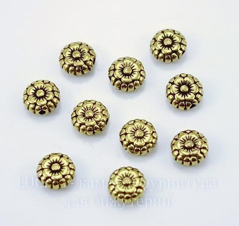 """Бусина металлическая круглая плоская """"Цветочек"""" 7х3 мм (цвет - античное золото), 10 штук"""