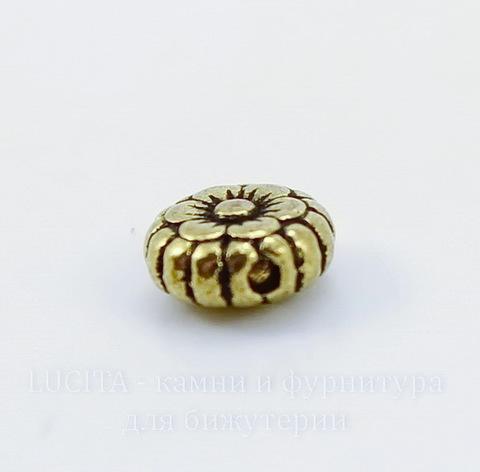 """Бусина металлическая """"Цветочек"""" (цвет - античное золото) 7х3 мм , 10 штук"""