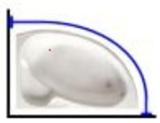 Карниз на ванную четверть круга, материал полированная нержавейка