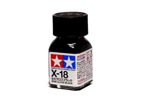 X-18 Краска Tamiya Черная Полуматовая (Semi Gloss Black), эмаль 10мл