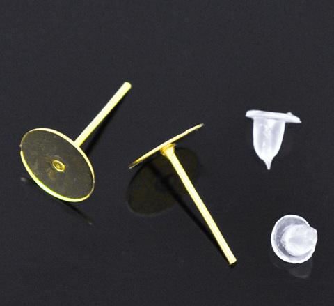 Пуссеты - гвоздики с круглой площадкой для приклеивания 8 мм (цвет - золото) 5 пар (с заглушками)