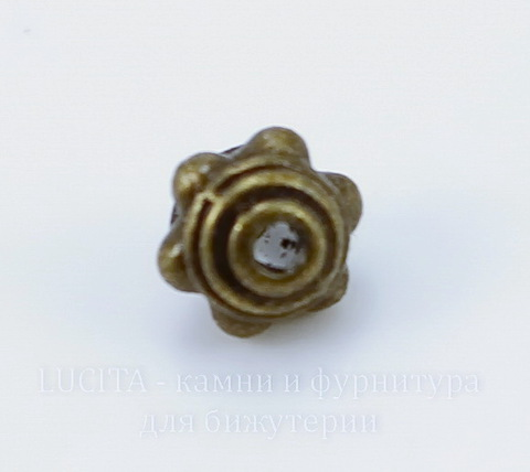 Бусина металлическая (цвет - античная бронза) 7х5 мм, 10 штук