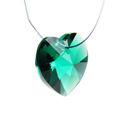 6228 Подвеска Сваровски Сердечко Emerald (18х17,5 мм) ()
