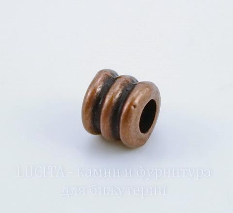 """Бусина металлическая """"Рельефная"""" 5х5 мм (цвет - античная медь), 10 штук"""