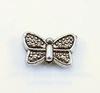 """Бусина металлическая """"Бабочка"""" (цвет - античное серебро) 10х6 мм, 10 штук"""