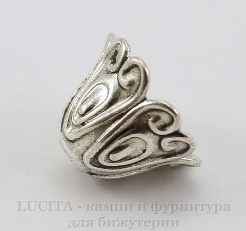 """Шапочка для бусины """"Колокольчик"""" (цвет - античное серебро) 15х11 мм ()"""