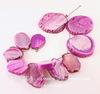 Бусина Агат, цвет - розовый, 18-49 мм, нить