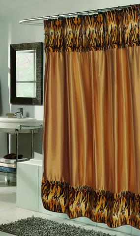 Элитная шторка для ванной Panthera-Tiger Fur от Carnation Home Fashions