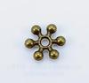 """Бусина металлическая - спейсер """"Снежинка"""" 8х2 мм (цвет - античная бронза), 10 штук"""