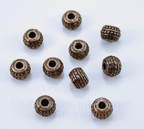 Бусина металлическая - рондель с узорами (цвет - античная медь) 7х5 мм, 10 штук