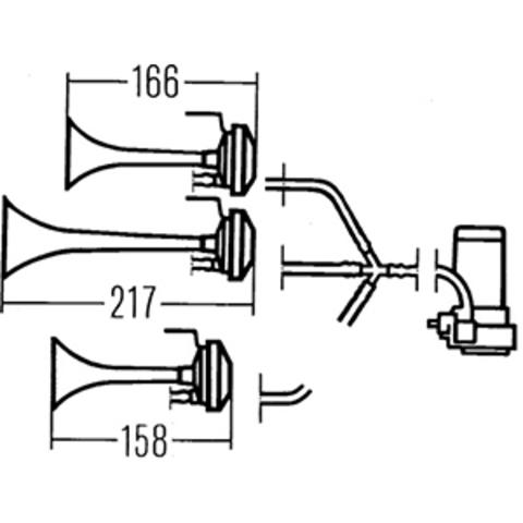 Компрессорный звуковой сигнал Hella 810/756/600 Гц (3PD 003 001-981)