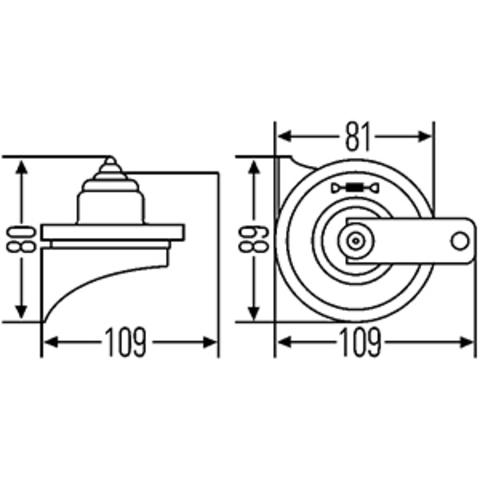 Звуковой сигнал Hella 500/400 Гц (3FH 007 424-801)